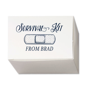 Custom Matte Navy Cake Box with Matte Navy Foil has a Bandaid graphic and is good for use for Party Survival and will look fabulous with your unique touch. Your guests will agree!