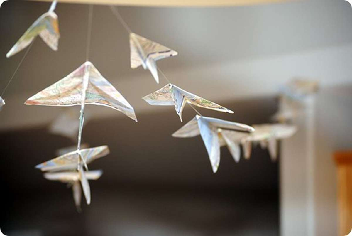 Paper Airplane Garland made out of Maps