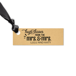 Our custom Linen Pearl Gold Rectangle Gift Tag with Matte Black Foil has a Mrs. and Mrs. 3 graphic and is good for use in Words, Wedding themed parties and can't be beat. Showcase your style in every detail of your party's theme!