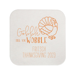 Our personalized Eggshell Scallop Coaster with Matte Tangerine Foil Color has a Live Turkey graphic and is good for use in Holiday, Thanksgiving themed parties and couldn't be more perfect. It's time to show off your impeccable taste.