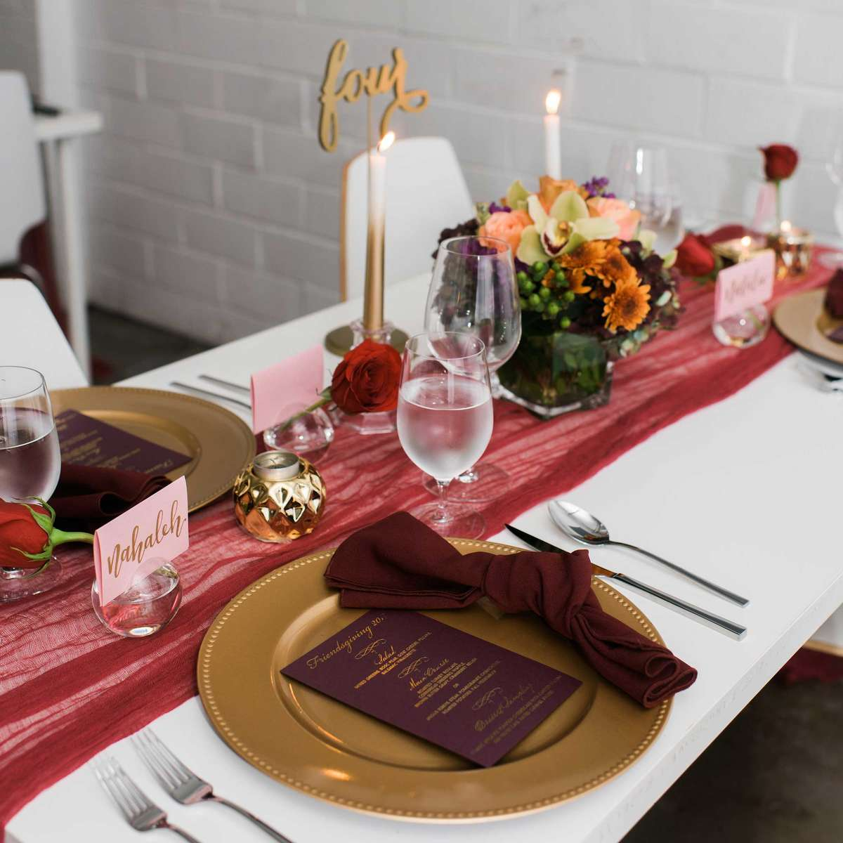 maroon table decorations