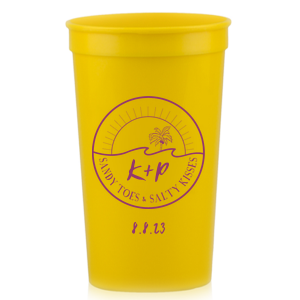 Custom Yellow 32 oz Stadium Cup with Matte White Ink Cup Ink Colors has a Beach Badge graphic and is good for use in Beach/Nautical, Wedding, Travel themed parties and can be personalized to match your party's exact theme and tempo.