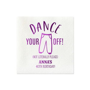 Personalized Dove Gray Cocktail Napkin with Shiny Amethyst Foil has a Pants graphic and is good for use in Celebration and Birthday themed parties and will add that special attention to detail that cannot be overlooked.