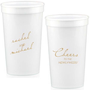 Custom Clear 16 oz Stadium Cup with Gold Ink Cup Ink Colors will make your guests swoon. Personalize your party's theme today.
