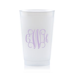 Custom 9 oz Frost Flex Cup with Matte Lavender Ink can be personalized to match your party's exact theme and tempo.