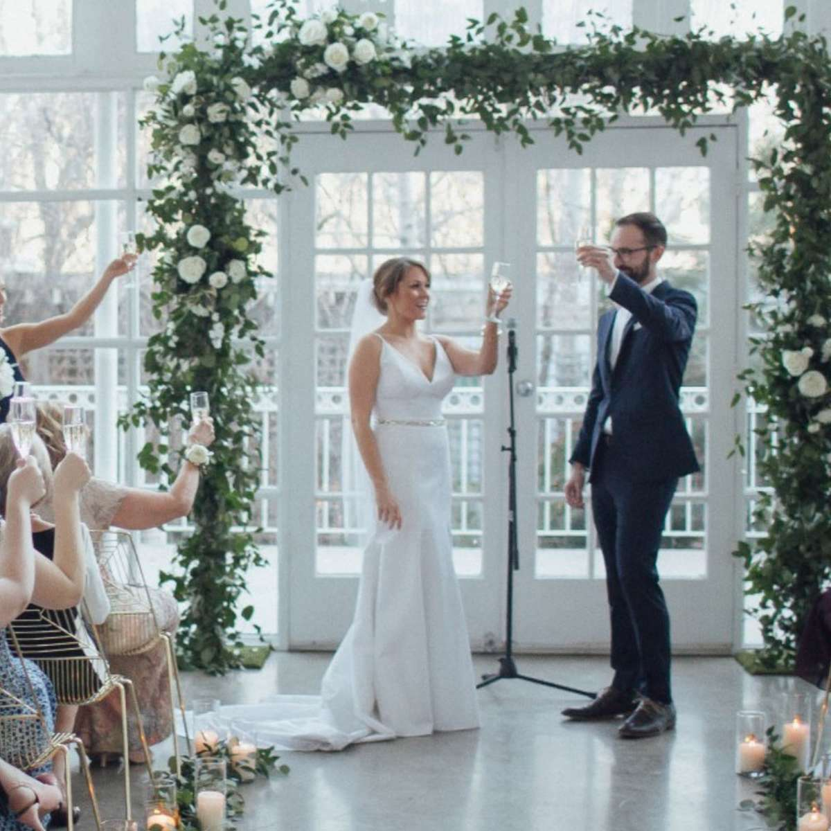 Elegant Geometric, White & Gold Real Wedding