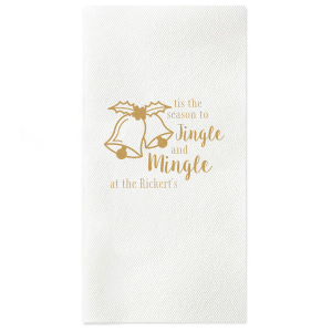 Our custom Lipstick Red Dinner Napkin with Satin 18 Kt. Gold Imprint Foil Color has a Holiday Bells graphic and is good for use in Holiday, Christmas themed parties and will make your guests swoon. Personalize your party's theme today.