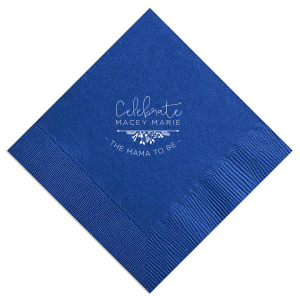 Celebrate the Mama-to-be with custom napkins! Choose the lovely Royal Blue with Matte White and personalize with the new Mama's name showcasing your attention to detail that cannot be overlooked.
