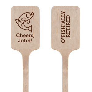 "It's o""fish""al! Retirement is here, and it's time to celebrate a job well done and those upcoming hours on the lake. Complete your bar with personalized stir sticks. Our Fish graphic and fun saying paired with your name will make a detail sure to be a crowd favorite—perfect for a fishing themed bash!"