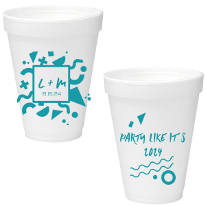 ForYourParty's elegant Matte Teal/Peacock Ink 16 oz Styrofoam Cup with Matte Teal/Peacock Ink Cup Ink Colors has a Confetti Frame 4 graphic and a Confetti Accent graphic and is good for use in Accents, Birthday, Organic themed parties and will make your guests swoon. Personalize your party's theme today.