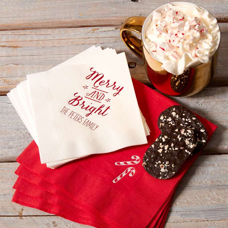peppermint hot chocolate cocktail recipe with christmas cocktail napkin