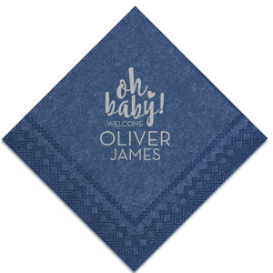 The ever-popular Navy Shimmer Cocktail Napkin with Satin Sterling Silver Foil has a Oh baby graphic and is good for use in Words, Baby Shower themed parties and can be personalized to match your party's exact theme and tempo.