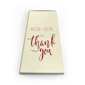 Our custom Shiny Merlot Cake Box with Shiny Merlot Foil Color has a Thank You 2 graphic and is good for use when you need to give away that special treat for a thank you and will make your guests swoon. Personalize your party's theme today.