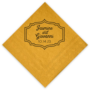 Custom Super Gold Cocktail Napkin with Matte Black Foil will look fabulous with your unique touch. Your guests will agree!
