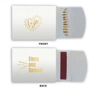 Our custom Linen White Demi Matchbox with Shiny 18 Kt Gold Foil Color has a Te Amo graphic and is good for use in Words themed parties and will look fabulous with your unique touch. Your guests will agree!