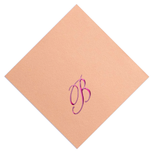 Custom Peach Foil Embossed Cocktail Napkin with Shiny Fuchsia Foil will make your guests swoon. Personalize your party's theme today.