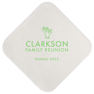 The ever-popular White Square Coaster with Matte Key Lime Foil has a Two Palm Trees graphic and is good for use in Beach/Nautical themed parties and will look fabulous with your unique touch. Your guests will agree!