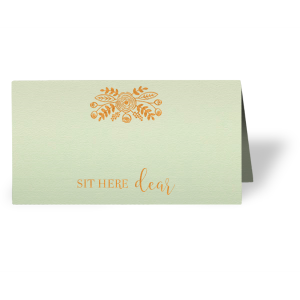 Our custom Poptone Mint Classic Place Card with Shiny Copper Foil has a Rustic Floral Accent graphic and is good for use in Accents, Wedding, Anniversary themed parties and couldn't be more perfect. It's time to show off your impeccable taste.
