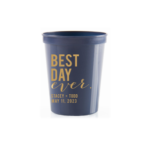 ForYourParty's chic Navy 16 oz Stadium Cup with Gold Ink Cup Ink Colors will add that special attention to detail that cannot be overlooked.