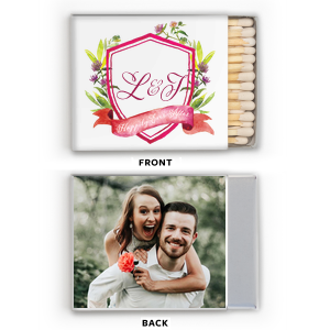 ForYourParty's elegant White Riviera Photo/Full Color Matchbox with Matte Dark Magenta Ink  will give your party the personalized touch every host desires.