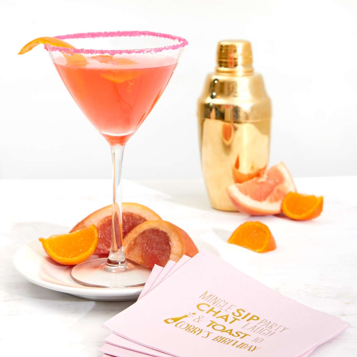 Grapefruit Martini cocktail recipe with cocktail napkin