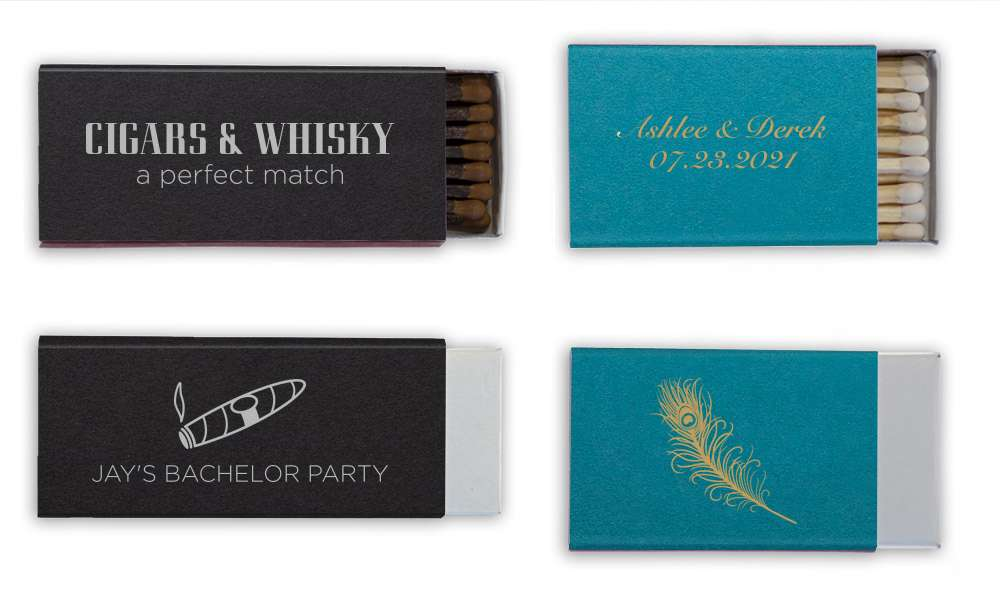 cigars and whiskey, a perfect match party favor and cute peacock matches for peacock party favors