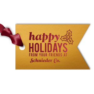 Our personalized Metallic 18 Karat Matte Gold Luggage Gift Tag with Shiny Merlot Foil has a Holly graphic and is good for use in Holiday, Christmas themed parties and will add that special attention to detail that cannot be overlooked.