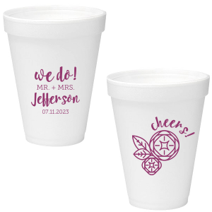 Custom Matte Plum Ink 16 oz Styrofoam Cup with Matte Plum Ink Cup Ink Colors has a Geo Flowers graphic and is good for use in Floral themed parties and can't be beat. Showcase your style in every detail of your party's theme!