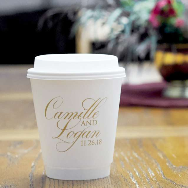 custom paper coffee cups for your wedding