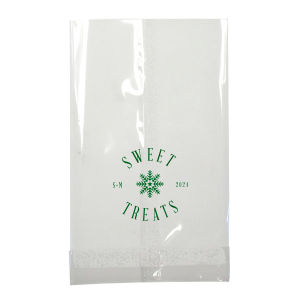 Custom Shiny Leaf Small Cellophane Bag with Shiny Leaf Foil has a Snowflake 3 graphic and is good for use in Christmas themed parties and are a must-have for your next event—whatever the celebration!