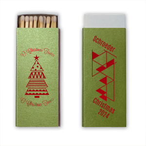 Our beautiful custom Poptone Kiwi Candle Matchbox with Shiny Convertible Red Foil Color has a Geo Christmas Tree 2 graphic and a Triangles2RSVP graphic and is good for use in Lovely Press themed parties and can't be beat. Showcase your style in every detail of your party's theme!
