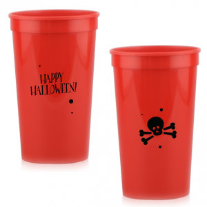 ForYourParty's personalized White 16 oz Stadium Cup with Matte Black Ink Cup Ink Colors has a Skull & Crossbones graphic and is good for use in Halloween themed parties and will give your party the personalized touch every host desires.