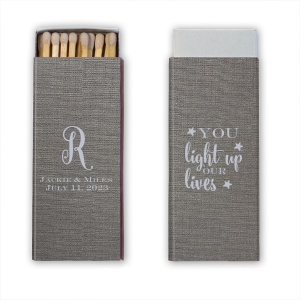 Personalized Linen Slate Classic Matchbox with Matte Dove Grey Foil couldn't be more perfect. It's time to show off your impeccable taste.