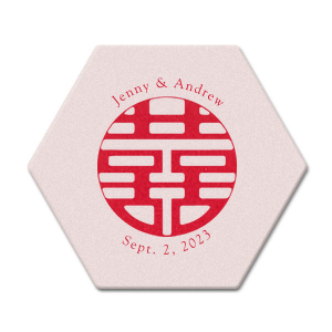 "Double Happiness - White - Hexagon Coasters - Personalized - Set of 75 - 4 x 4"""" by ForYourParty.com"
