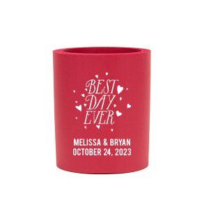 Custom Red Slim Can Cooler with Matte White Ink Cup Ink Colors has a Best Day Ever 3 graphic and is good for use in Words, Wedding, Anniversary themed parties and will look fabulous with your unique touch. Your guests will agree!