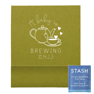 ForYourParty's elegant Poptone Dark Olive Tea Favor with Matte White Foil Color has a Tea Time graphic and is good for use in Drinks themed parties and will give your party the personalized touch every host desires.