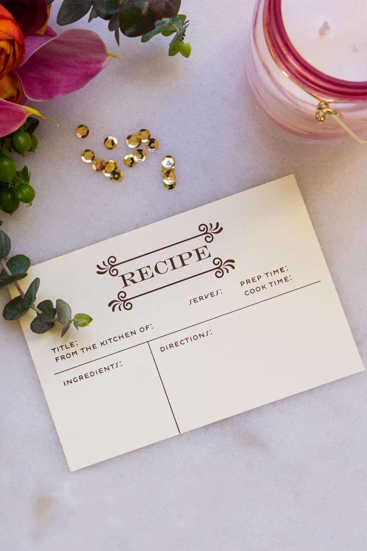 personalized foil stamped recipe card