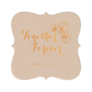 Our custom Kraft with Blush back Nouveau Coaster with Shiny Copper Foil has a Flower Trio graphic and is good for use in Floral, Wedding, Birthday themed parties and are a must-have for your next event—whatever the celebration!
