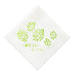 The ever-popular Lime Cocktail Napkin with Matte White Foil has a Palm Leaf Full Bleed graphic and is good for use in Travel, Floral, Organic themed parties and will make your guests swoon. Personalize your party's theme today.