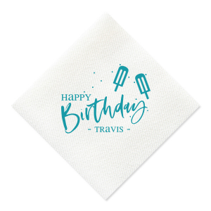 Custom Watercolor Blue Sky Cocktail Napkin with Shiny Convertible Red Foil has a Popsicles graphic and is good for use in Food, Kid Birthday, Birthday themed parties and will add that special attention to detail that cannot be overlooked.