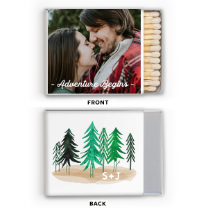 Our custom Photo/Full Color Matchbox with Matte White Ink Print Color can be customized to complement every last detail of your party.