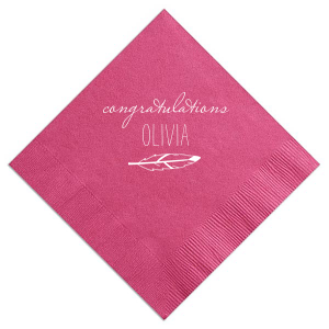 Our custom Fuchsia Cocktail Napkin with Matte White Foil has a Feather graphic and is good for use in Trendy, Southwestern and Graduation themed parties and can't be beat. Showcase your style in every detail of your party's theme!