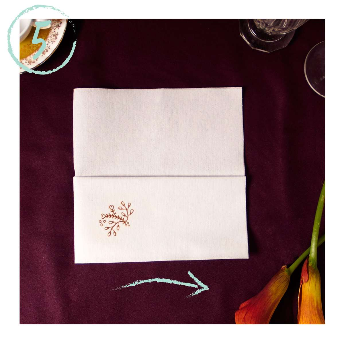 DIY Pocket napkin fold with a personalized napkin