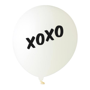 Custom White Designer Balloon with Black Ink Ink Color has a Xoxo graphic and is good for use in Words themed parties and couldn't be more perfect. It's time to show off your impeccable taste.
