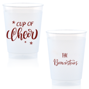 Our custom Matte Merlot Ink 14 oz Frost Flex Cup with Matte Merlot Ink Cup Ink Colors has a Cup of Cheer graphic and is good for use in Drinks, Holiday, Christmas themed parties and can be customized to complement every last detail of your party.