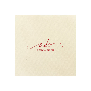 Our beautiful custom Coral Cocktail Napkin with Matte Ivory Foil has a I Do graphic and is good for use in Bridal Shower and Wedding celebrations and will give your party the personalized touch that will make your event memorable.