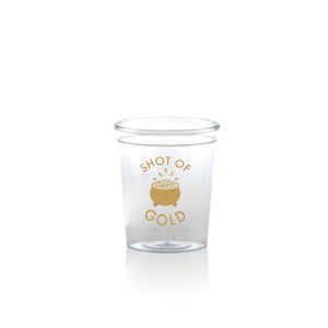 Personalized Gold Ink Plastic Shot Glass with Gold Ink Cup Ink Colors has a Pot O Gold graphic and is good for use in Holiday, St. Patricks Day themed parties and will make your guests swoon. Personalize your party's theme today.