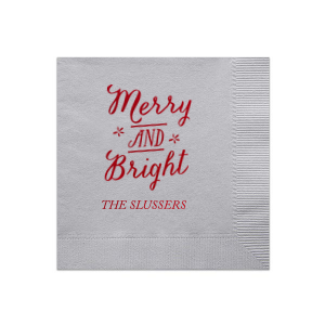 Our beautiful custom Silver Shimmer Cocktail Napkin with Shiny Convertible Red Foil Color has a Merry and Bright graphic and is good for use in Christmas themed parties and can be customized to complement every last detail of your party.