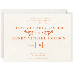Decorative Flourish Letterpress Invitation