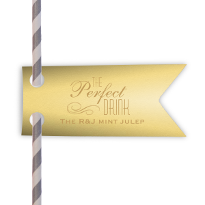Personalized Poptone Mimosa Double Point Straw Tag with Satin 18 Kt. Gold Foil Color has a Flourish 5 graphic and are a must-have for your next event—whatever the celebration!